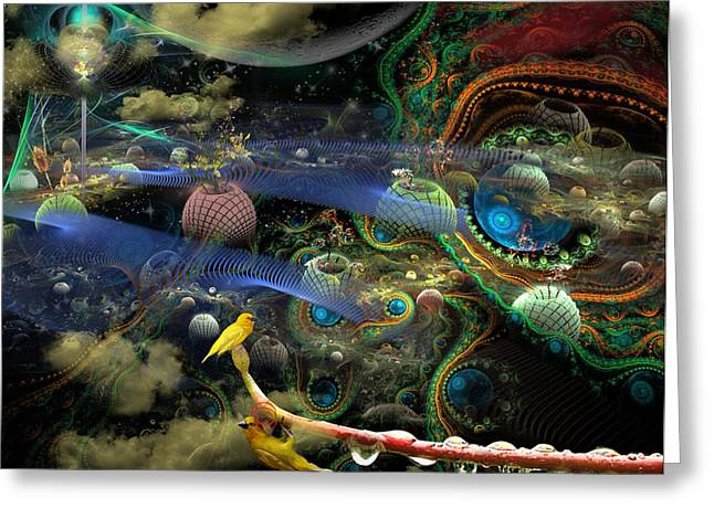 Greeting Card featuring the digital art The History Of The Bioluminoidal Fractalization Process by Rhonda Strickland