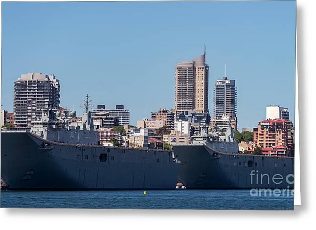 The H M A S Adelaide And H M A S Canberra Of The Royal Australian Navy Greeting Card by Kenneth Lempert
