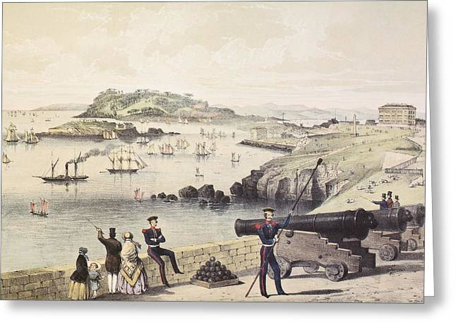 The Hoe, Drakes Island And Mt Edgecumbe Greeting Card
