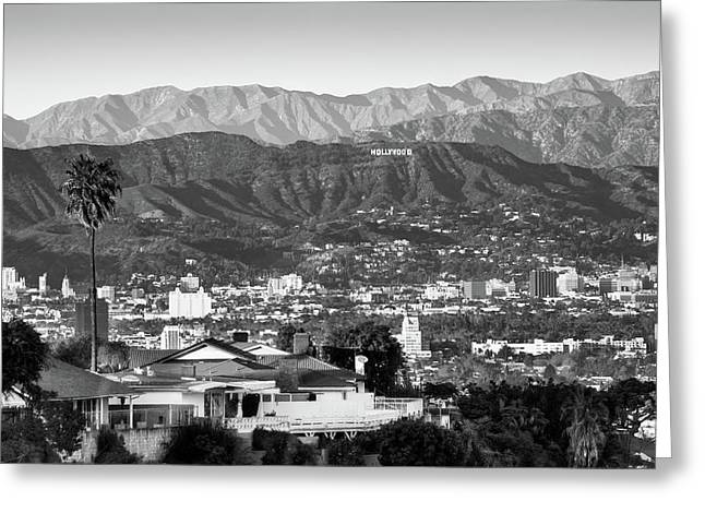 Greeting Card featuring the photograph The Hollywood Hills Urban Landscape - Los Angeles California Bw by Gregory Ballos
