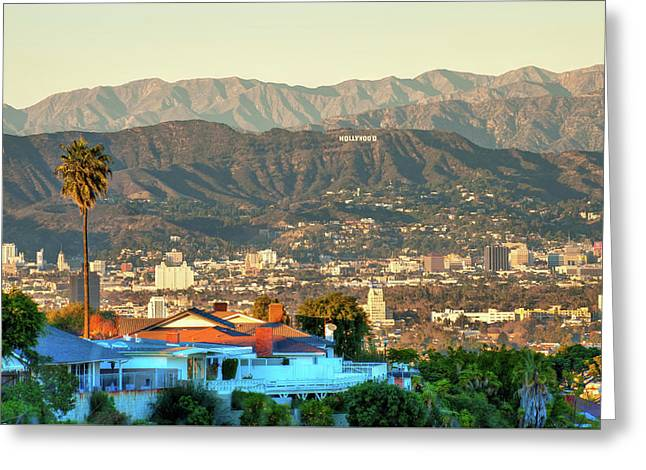Greeting Card featuring the photograph The Hollywood Hills Urban Landscape - Los Angeles California by Gregory Ballos