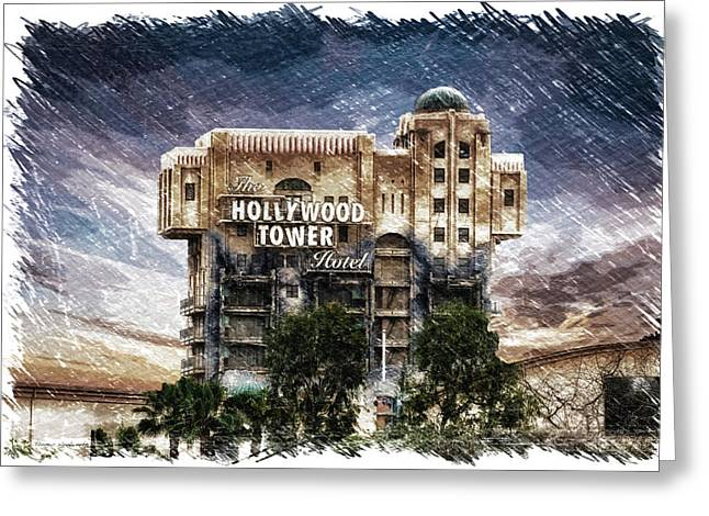 The Hollywood Tower Hotel Disneyland Pa 01 Greeting Card by Thomas Woolworth