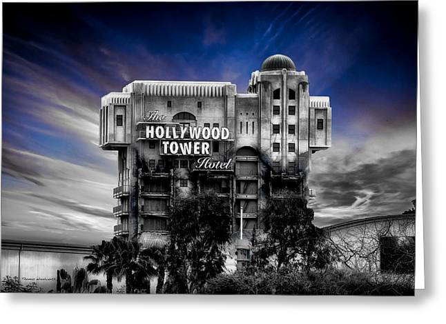 The Hollywood Tower Hotel Disneyland Sc Greeting Card by Thomas Woolworth