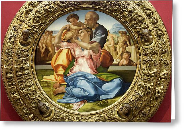 The Holy Family - Doni Tondo - Michelangelo - Round Canvas Version Greeting Card