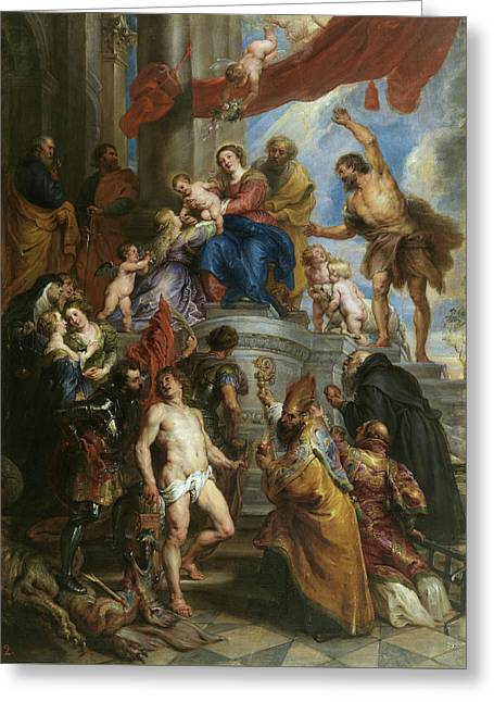The Holy Family Surrounded By Saints Greeting Card