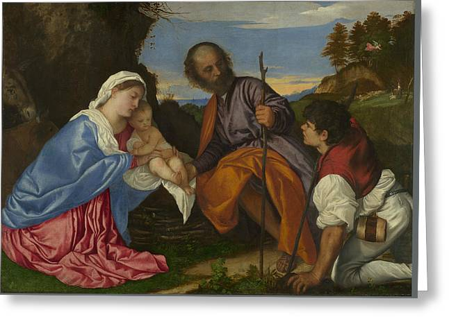 The Holy Family With A Shepherd Greeting Card by Titian