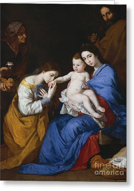 The Holy Family With Saints Anne And Catherine Of Alexandria, 1648  Greeting Card by Jusepe de Ribera