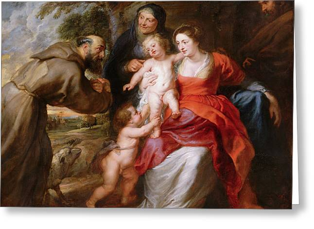 The Holy Family With Saints Francis, Anne And John The Baptist Greeting Card