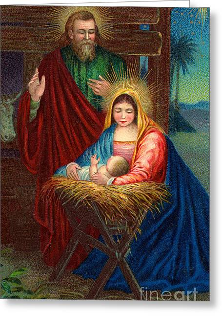 The Holy Family With The Christ Child Greeting Card