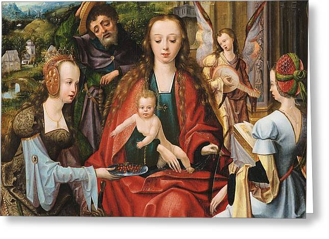 The Holy Family With Two Saints Greeting Card by Mountain Dreams