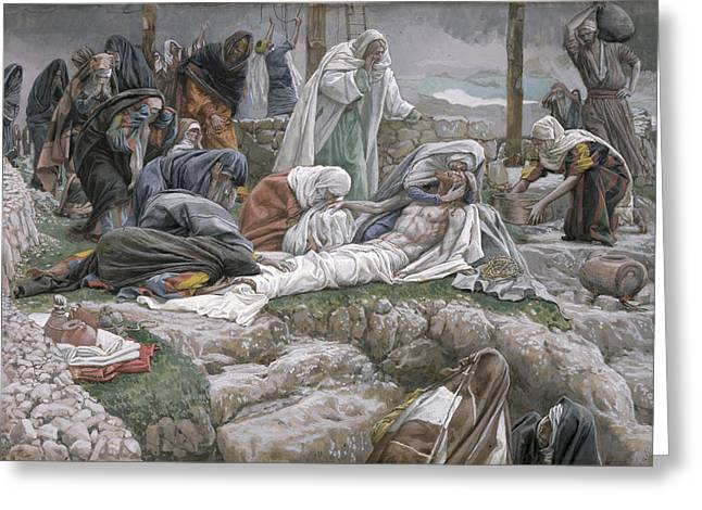 Religious Paintings Greeting Cards - The Holy Virgin Receives the Body of Jesus Greeting Card by Tissot