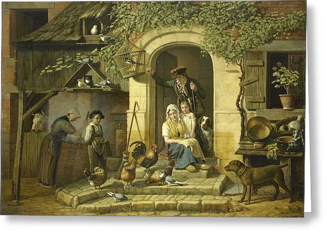 The Home Of A Hunter, 1826 Greeting Card by Henri Voordecker