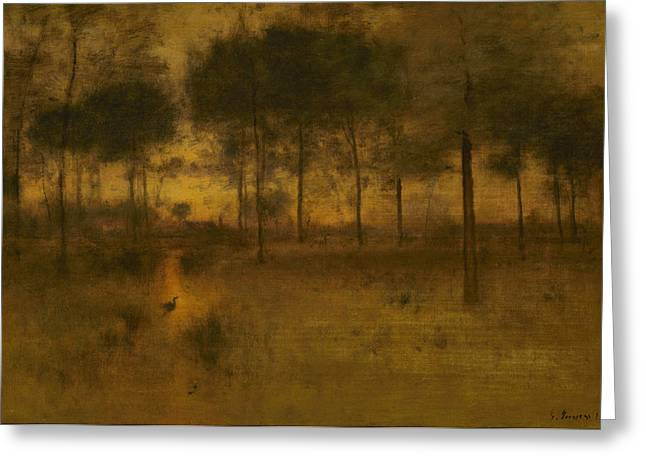 The Home Of The Heron Greeting Card by George Inness