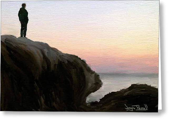 Greeting Card featuring the painting The Horizon by Wayne Pascall