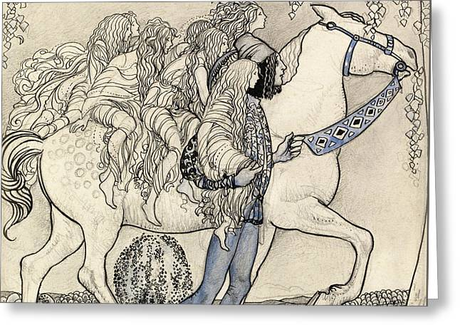 The Horse He Led At The Bit Greeting Card by John Bauer