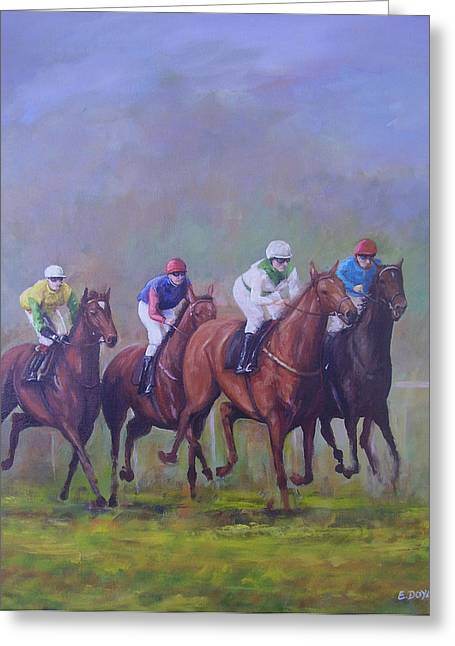 The Horse Race Greeting Card by Eamon Doyle