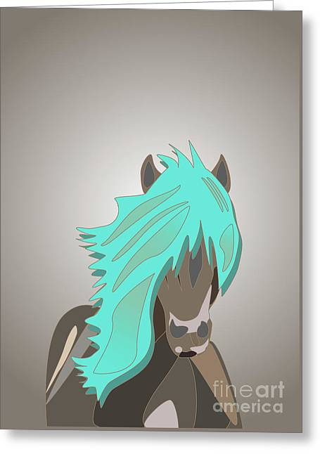 The Horse With The Turquoise Mane Greeting Card