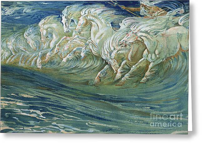 Wild Horses Greeting Cards - The Horses of Neptune Greeting Card by Walter Crane