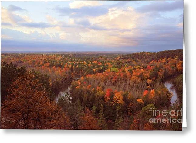 The Horseshoe Bend Of The High Rollaways In Michigan Greeting Card by Terri Gostola