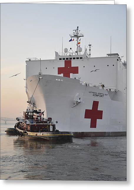 Continuing Greeting Cards - The Hospital Ship Usns Comfort Departs Greeting Card by Stocktrek Images