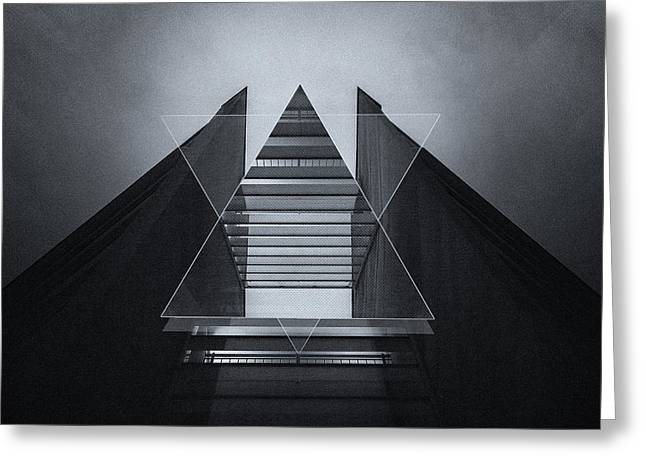 The Hotel Experimental Futuristic Architecture Photo Art In Modern Black And White Greeting Card by Philipp Rietz