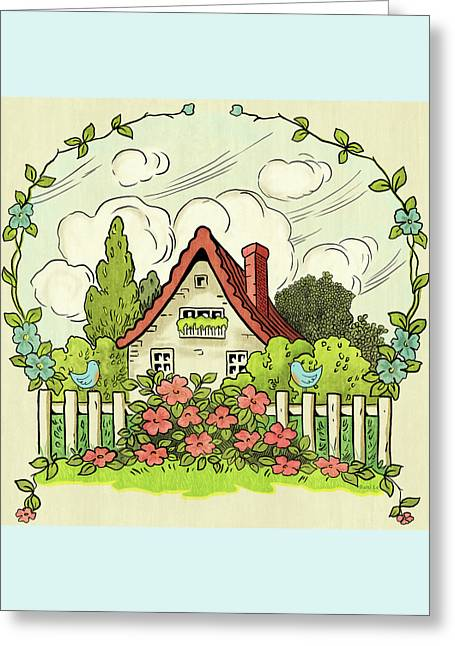 The House At The End Of Storybook Lane Greeting Card by Little Bunny Sunshine