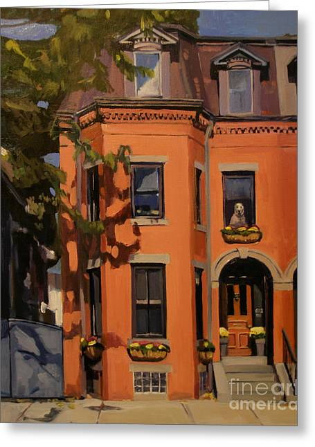 Dog House Greeting Cards - The House Sitter Greeting Card by Deb Putnam