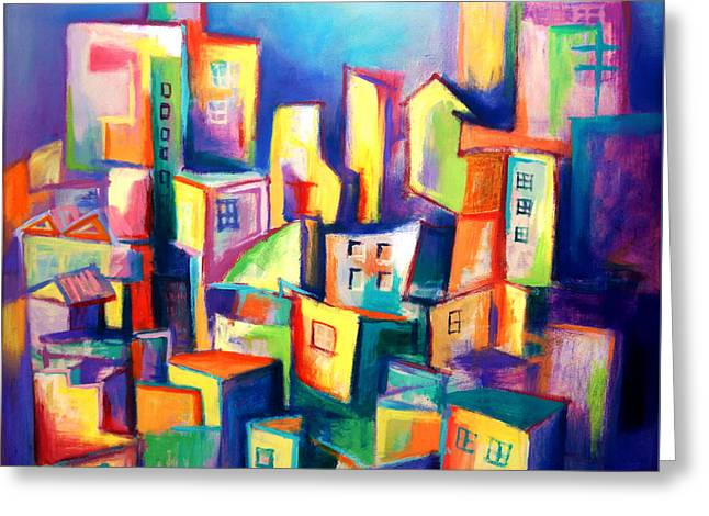 Greeting Card featuring the painting The Houses by Kim Gauge