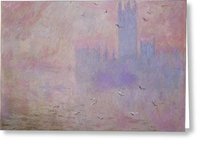 The Houses Of Parliament, Seagulls Greeting Card by Claude Monet