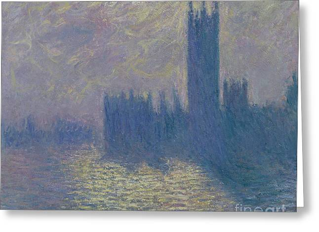The Houses Of Parliament Stormy Sky Greeting Card by Claude Monet