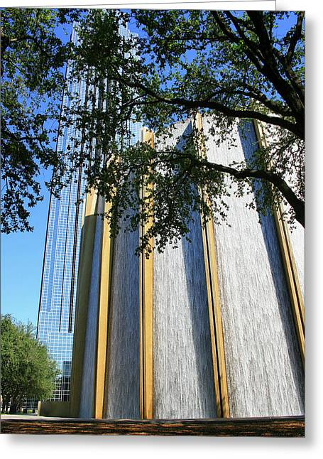 The Houston Water Wall And Williams Tower Greeting Card