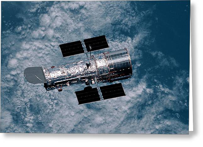 Satellite View Greeting Cards - The Hubble Space Telescope Greeting Card by Nasa
