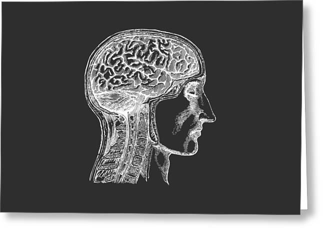 The Human Brain - White On Black Greeting Card