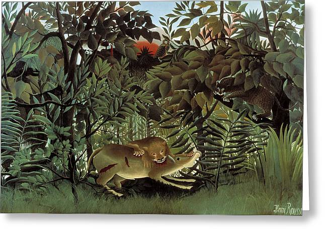 The Hungry Lion Attacking An Antelope Greeting Card by Henri Rousseau