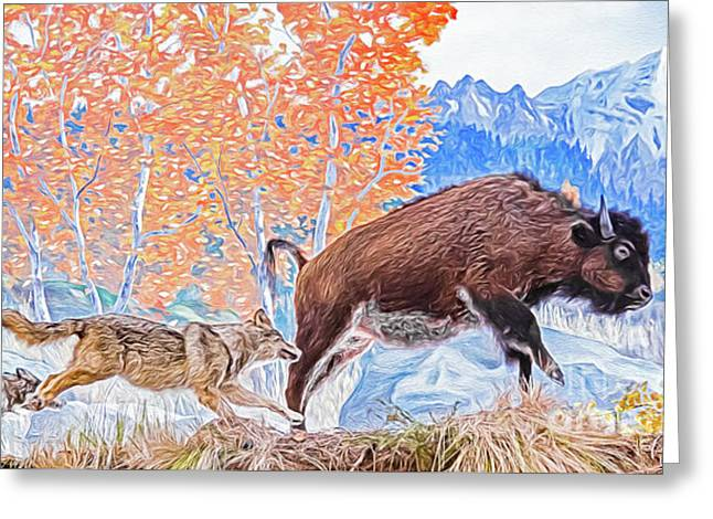 Greeting Card featuring the digital art The Hunt by Ray Shiu