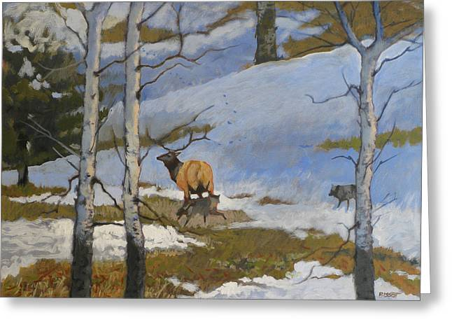 The Hunt Greeting Card by Robert Bissett