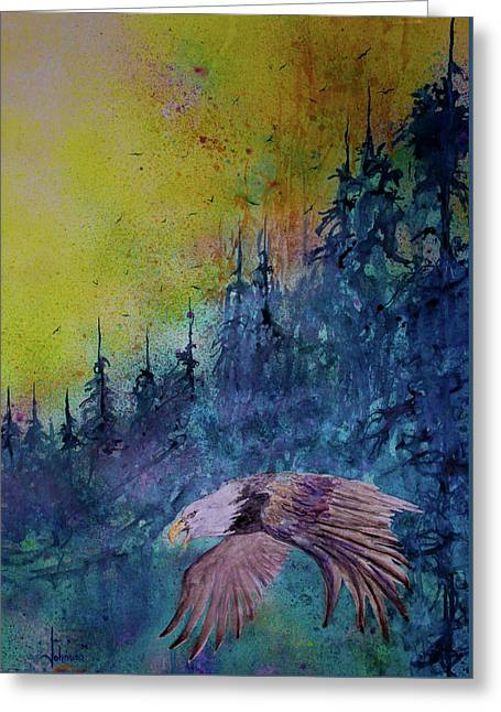 The Hunter Greeting Card by Larry  Johnson