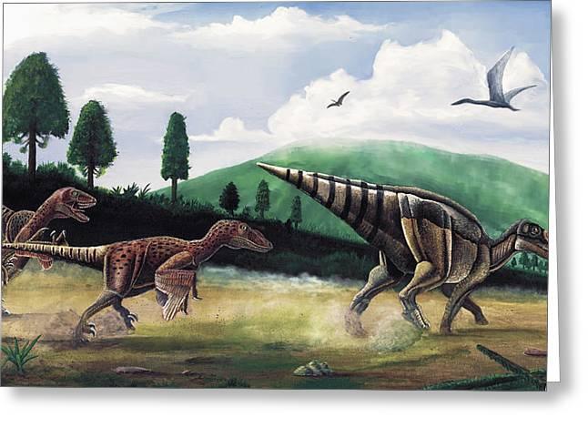The Hunters - Balaur Bondoc And Telmatosaurus Transylvannicus Greeting Card by Mihai Dumbrava