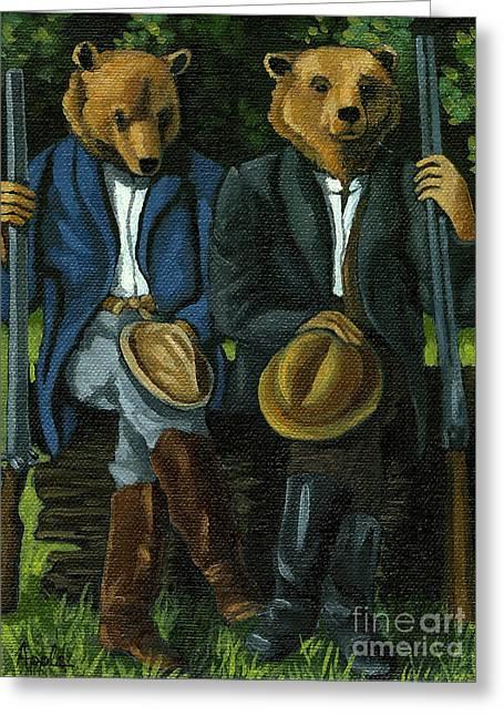 The Hunters - Bears Painting Greeting Card