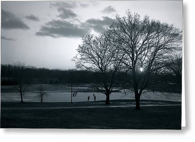 The Ice Skaters...kirby Park Pond Kingston Pa. Greeting Card by Arthur Miller