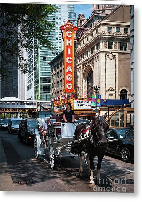 The Iconic Chicago Theater Sign And Traffic On State Street Greeting Card