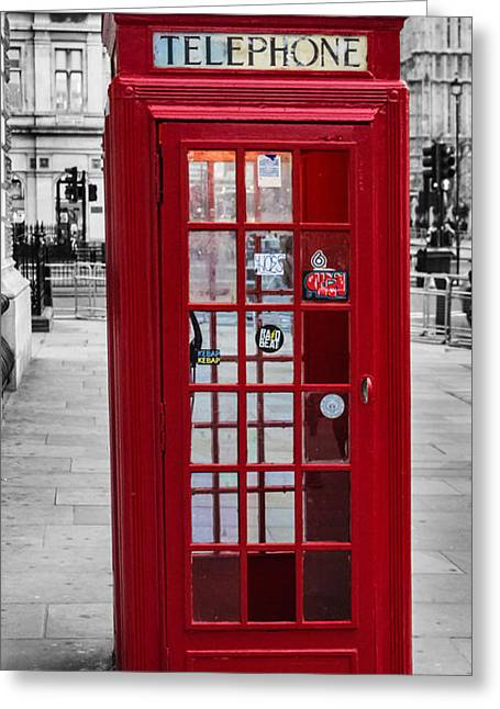 The Iconic London Phonebox Greeting Card by Martin Newman