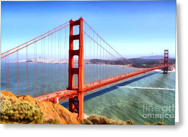 The Iconic San Francisco Golden Gate Bridge . 7d14507 Greeting Card by Wingsdomain Art and Photography