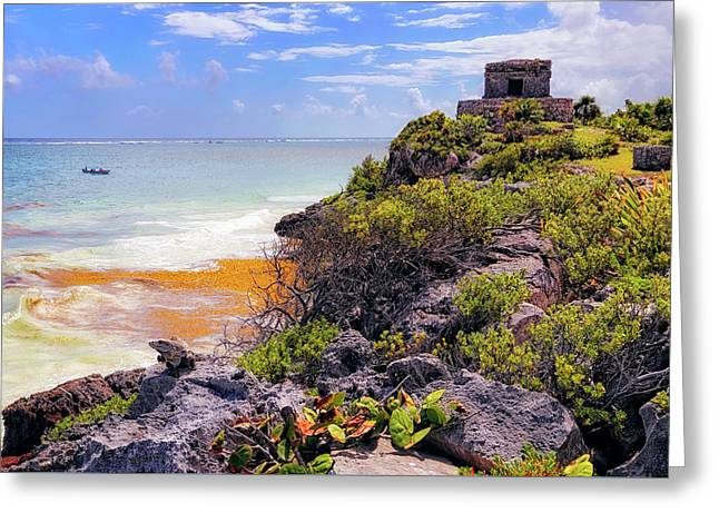 Greeting Card featuring the photograph The Iguana And The Temple Of The God Of The Wind - Tulum Mayan Ruins - Mexico by Jason Politte