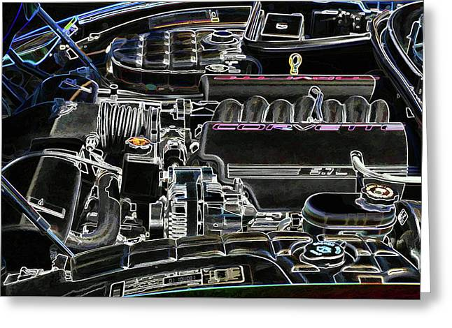The Image Of A Car Engine Compartment Greeting Card by Lanjee Chee