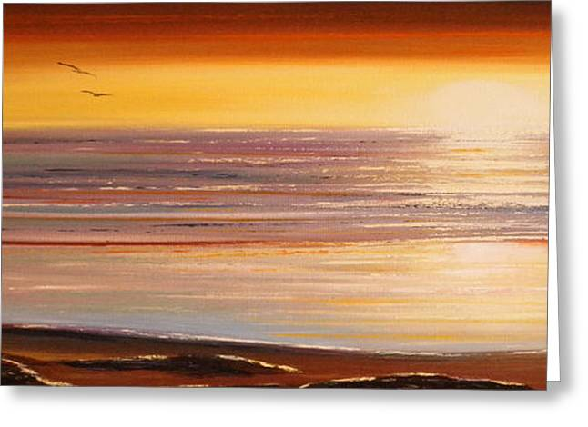 Sunset Posters Greeting Cards - The Importance of Being There Panoramic Sunset Greeting Card by Gina De Gorna