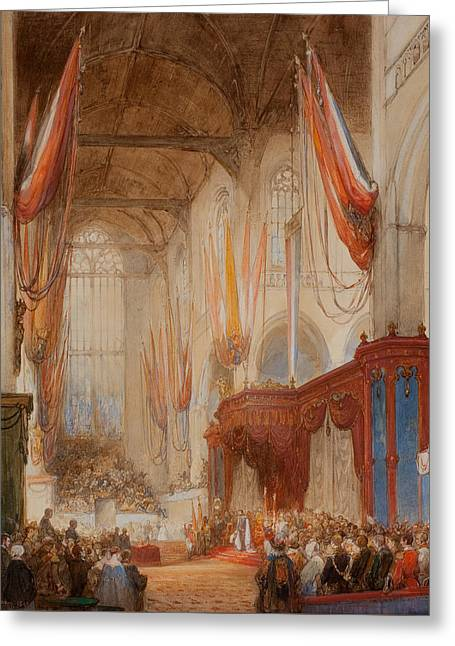 The Inauguration Of King Willem IIi Greeting Card by Johannes Bosboom