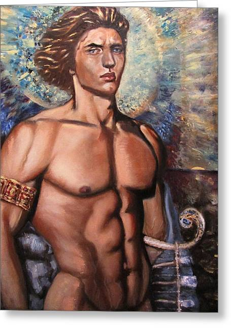 The Incarnation Of The Archangel Michael Greeting Card by Aleksei Gorbenko