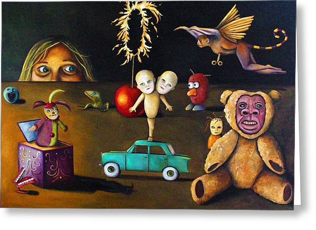 Jack-in-the-box Greeting Cards - The Incredible Creepy Toy Collection Greeting Card by Leah Saulnier The Painting Maniac