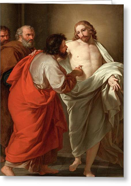 The Incredulity Of Saint Thomas Greeting Card by Giuseppe Bottani